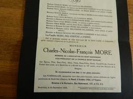NEUFVILLES: FAIR PART DE  DECE DE CHARLES NICOLAS FRANCOIS MORE -CHORALE SAINT NICOLAS 1860-1933 - Obituary Notices