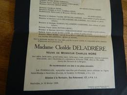 NEUFVILLES: FAIR PART DE  DECE DE CLOTILDE DELADRIERE VEUVE DE CHARLES NICOLAS FRANCOIS MORE  1860-1935 - Obituary Notices