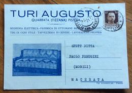 QUARRATA(TIZZANA) PISTOIA  7/5/42 - CARTOLINA PUBBLICITARIA TURI AUGUSTO TENDE E TAPPEZZERIE,PER MACERATA - Storia Postale