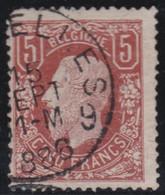 Belgie  .  OBP  .    37  (2 Scans)  .  Mist Hoektandje      .   O   .   Gebruikt   .   / .   Oblitéré - 1869-1883 Leopoldo II