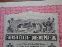 MAROC - 1940 - ENERGIE ELECTRIQUE DU MAROC - OBLIGATION 6% 190 DE 5 000 FRS - SPECIMEN, TITRE NON EMIS - Non Classés