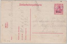 Etappe West - 10 A. 10 Pfg. Germania Ganzsache Zivilarbeiterpostkarte 1917 N. - Ocupación 1914 – 18