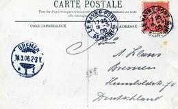 Carte Postale Le Havre 1906 Avec Perforé BV 193 - Tarif Cartes Postales étranger - Perfin