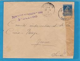 ALSACE RECONQUISE. LETTRE DE MOOSCH POUR GENEVE,OUVERTE PAR LA CENSURE FRANCAISE.1915. - Oorlog 1914-18