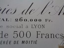 FRANCE - 01 - SA DES PAPETERIES DE L'AIN - ACTION DE 500 FRS - TIRAGE 520 ACTIONS - LYON 1882 - Non Classés