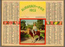 CALENDRIER GF 1973 - Enfant Et Promenade à Cheval, Imprimeur Oller - Big : 1971-80