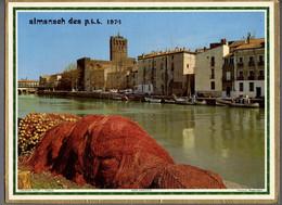 CALENDRIER GF 1974 - AGDE 34 Hérault, Pointe Du Croisic 44 Loire A, Imprimeur Oller (calendrier Double) - Big : 1971-80