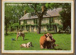 CALENDRIER GF 1974 - Enfant Et Le Lapin, Vaches Au Pré, Imprimeur Oller (calendrier Double) - Big : 1971-80