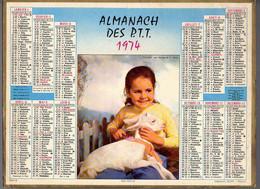 CALENDRIER GF 1974 - Soins Docile, Enfant Et Agneau, Imprimeur Oller - Big : 1971-80