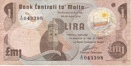BILLETE DE MALTA DE 1 LIRA DEL AÑO 1979 (BANKNOTE) - Malta