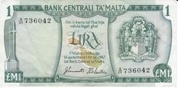 BILLETE DE MALTA DE 1 LIRA DEL AÑO 1973 (BANKNOTE) - Malta