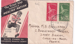 NEW ZEALAND - 1947 - ENVELOPPE FDC De GLENELG HEALTH CAMP => ST BRIEUC (FRANCE) - Covers & Documents