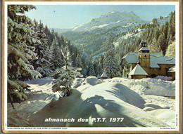CALENDRIER GF 1977 - Ferme Bressane, Neige Et Son Manteau Blanc, Imprimeur Oller (calendrier Double) - Big : 1971-80
