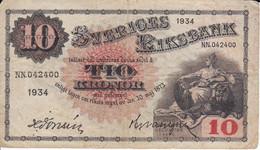 BILLETE DE SUECIA DE 10 KRONOR DEL AÑO 1934  (BANKNOTE) - Sweden
