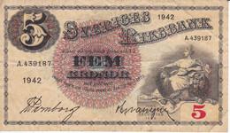 BILLETE DE SUECIA DE 5 KRONOR DEL AÑO 1942  (BANKNOTE) - Sweden