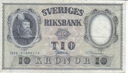 BILLETE DE SUECIA DE 10 KRONOR DEL AÑO 1959  (BANKNOTE) - Sweden