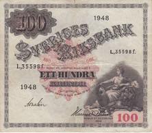 BILLETE DE SUECIA DE 100 KRONOR DEL AÑO 1948 (BANKNOTE) - Sweden