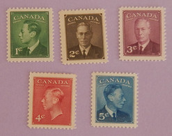 CANADA YT 231/235 NEUF**/*  GEORGE VI  ANNÉE 1950 - Nuevos