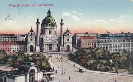 2548) WIEN - Karlsplatz Mit Karlskirche - Sehr Altes AUTO Stadtbahnstation U. Häuser ALT !! 1929 !! - Non Classificati