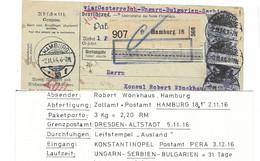 1916 Postweg Ueber Serbien (nur 1916-18 Moeglich) Eine Beschaedigte Marke, Aber Guter Ankunftsstempel - Covers & Documents