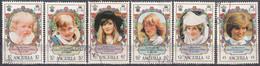 Anguilla 1982 Michel 483 - 488 O Cote (2005) 5.70 Euro Princesse Diana Cachet Rond - Anguilla (1968-...)
