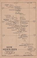 New Hebrides Map, Now Vanuatu, British & French Condominium, C1910s/20s Vintage Postcard - Vanuatu