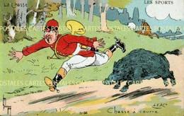 Carte Illustrée Par Léon Lebègue Fantaisie à La Chasse à Courre Le Sanglier Charge Le SOnneur De Cor De Chasse - Hunting