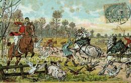Carte Illustrée D'une Panique Générale Des Animaux De La Ferme Lors D'une Chasse à Courre - Hunting