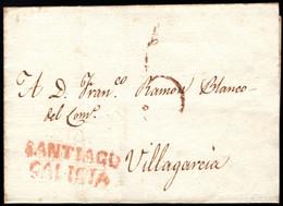 1822.Envuelta Prefilatélica.Santiago-Villagarcia De Arosa.Marca PE: 16 En Rojo De Santiago.ESCASA - Informatik