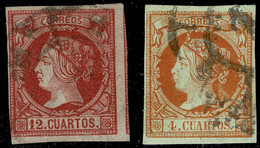 1860.Ed:º51,53.Isabel II.2 Valores De La Serie.Matasello Rueda De Carreta - Gebraucht