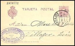 1925.Ed:º57EP.Entero Postal.Alfonso XIII.Tipo Vaquer.Usado.Fechador BADAJOZ/14OCT25 En Negro - Briefe U. Dokumente