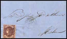 1863.Ed:58.Envuelta.Isabel II.Ciudadela-Mahon.Matasello Fechador T.II CIUDADELA/23AGO63/MENORCA En Negro - Briefe U. Dokumente