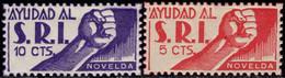 1936.MNH/MH.Fe:**/*11/12.Guerra Civil Española.Emisión Local Benéfica.Novelda.Serie Completa.AYUDAD AL SRI - Verschlussmarken Bürgerkrieg