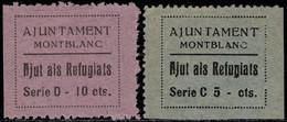 1936.MNG.Fe:(*)6/7.Guerra Civil Española.Emisión Local Benéfica.Montblanc.2 Valores De La Serie.AJUTS ALS REFUGIATS - Verschlussmarken Bürgerkrieg