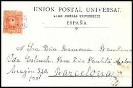 1901(ca).Ed:243.Tarjeta Postal.Alfonso XIII.Cadete.San Feliu De Codinas-Barcelona.Matasello CARTERIA/S.F. DE CODINAS En - Briefe U. Dokumente