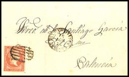 1857.Ed:48.Envuelta.Isabel II.Segorbe-Valencia.Matasello Parrilla Negra.Marca Fechador T.I SEGORBE/24NOV57/CASTELLON DE - Briefe U. Dokumente
