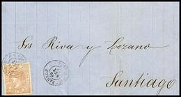 1867.Ed:96.Carta.Isabel II.Puentecensures-Santiago.Matasello Fechador T.II PADRON/CORUÑA En Negro.Al Dorso Marca Fechado - Briefe U. Dokumente