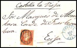 1856.Ed:48.Carta.Isabel II.Porcuna-Ecija.Matasello Parrilla Negra.Marca  Fechador T.I PORCUNA/JAEN En Azul - Briefe U. Dokumente
