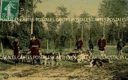 Chasse à Courre En Forêt De Fontainebleau La Meute Au Rendez-vous Belle Carte Toilée Vernissée Couleur - Hunting