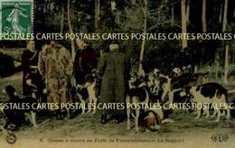Chasse à Courre En Forêt De Fontainebleau Le Rapport  Belle Carte Toilée Vernissée Couleur - Hunting