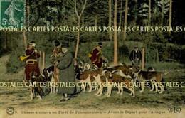 Chasse à Courre En Forêt De Fontainebleau Avant Le Départ Pour L'Attaque Belle Carte Toilée Vernissée Couleur - Hunting