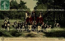 Chasse à Courre En Forêt De Fontainebleau En Route Pour L'Attaque Belle Carte Toilée Vernissée Couleur - Hunting