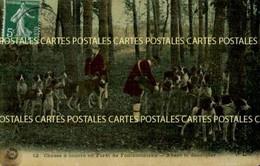 Chasse à Courre En Forêt De Fontainebleau Avant Le Découpler Belle Carte Toilée Vernissée Couleur - Hunting