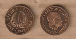 SIERRA LEONA 1 Cent 1964 Bronze • 5.7 G • ⌀ 26 Mm KM# 17  PROOF - Sierra Leone