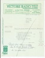 FACTURE ENVOYEE A LA MERE SUPERIEURE DE L'HOTEL DIEU DE BAYEUX  Victoire Radio Tele 1961 - 1950 - ...