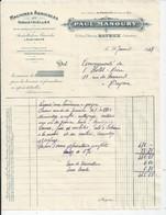 FACTURE ENVOYEE A LA MERE SUPERIEURE DE L'HOTEL DIEU DE BAYEUX Machines Agricoles  Manoury 1947 - 1900 – 1949