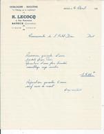 FACTURE ENVOYEE A LA MERE SUPERIEURE DE L'HOTEL DIEU DE BAYEUX Horlogerie Bijouterie  Lecocq 1953 - 1950 - ...