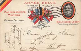 """Correspondance Militaire Armée Belge """"Pour Le Roi Et La Patrie"""" - Carte Colorée Et Circulé En 1918 - Oorlog 1914-18"""