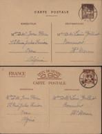 2 Entiers CP Interzone Prix De Vente 0,90 Iris Sans Valeur + Entier Algérie Mosquée Pêcherie 60ct Brun CAD Oran RP 1941 - Cartas