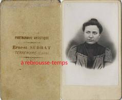 CDV Par Ernest Sudrat à Terre Noire (Loire)-portrait De Femme - Antiche (ante 1900)